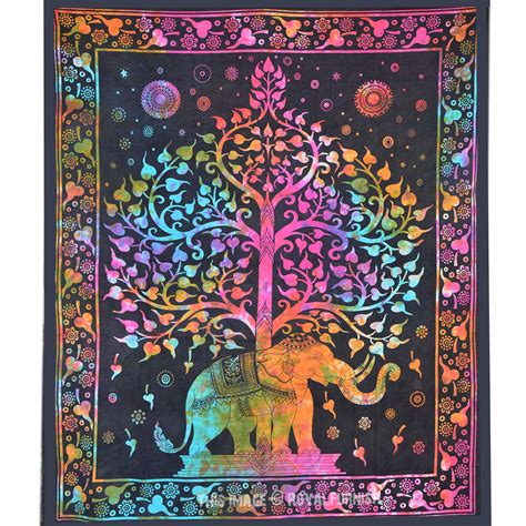 wall hanging design tie dye colorful elephant tree tapestry wall hanging