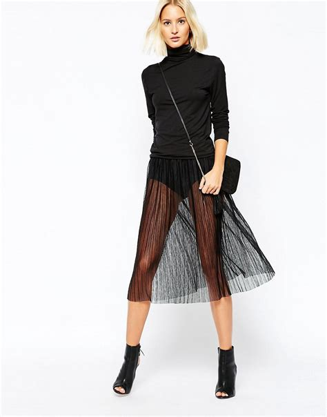 selected selected assie sheer midi pleated skirt at asos