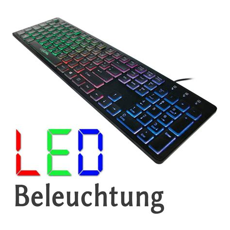 qwertz layout android beleuchtete led tastatur usb plug play win10 mac android