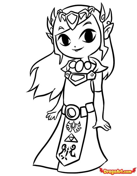 how to draw toon zelda step by step video game