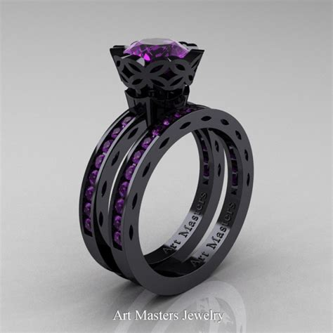 classic armenian 14k black gold 1 0 ct amethyst engagement