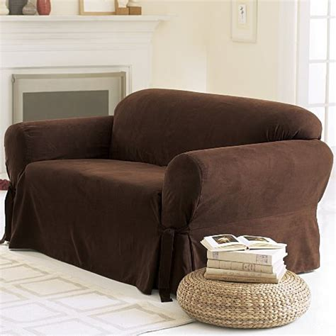 slipcover blogs soft suede sofa slipcover chocolate home and kitchen blog