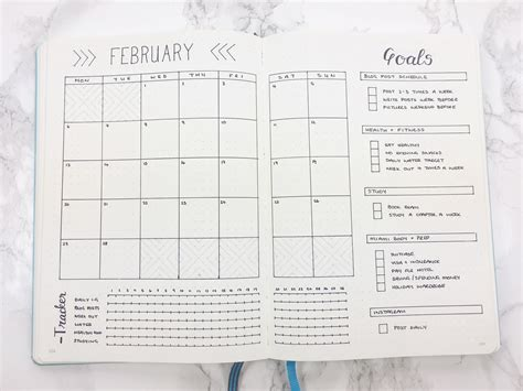 layout bullet journal february set up template kate louise