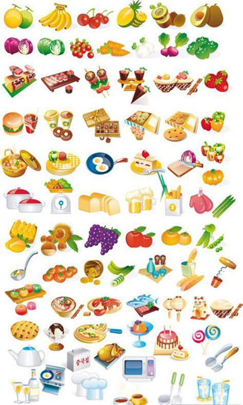 Domestic Appliances and Food Icon Set