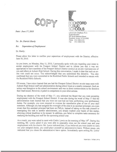Sle Letter Response Bad Evaluation District 100 Watchdog Dr Hardy S Response To Rockford Superintendent S Letter Is Release