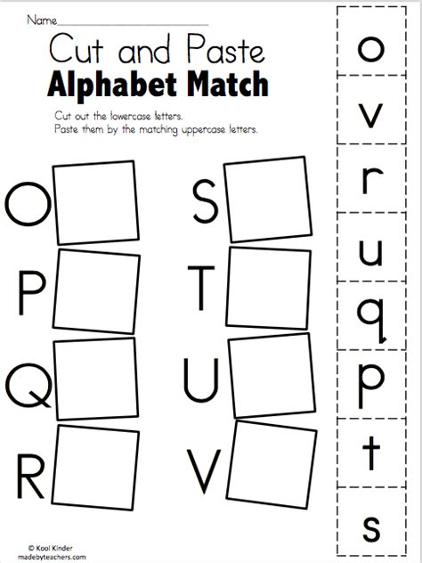 cutting pasting games alphabet match o to v free worksheets free worksheets