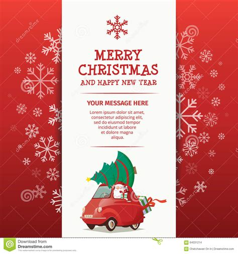 merry and happy new year card template merry and happy new year rad car stock vector
