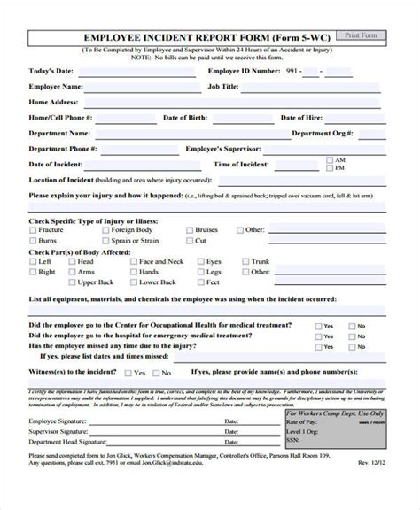 Burn Report Template Incident Report Forms