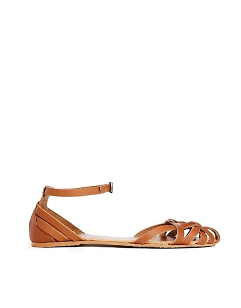 caged sandals flat new look new look julio leather 2 part caged flat sandals