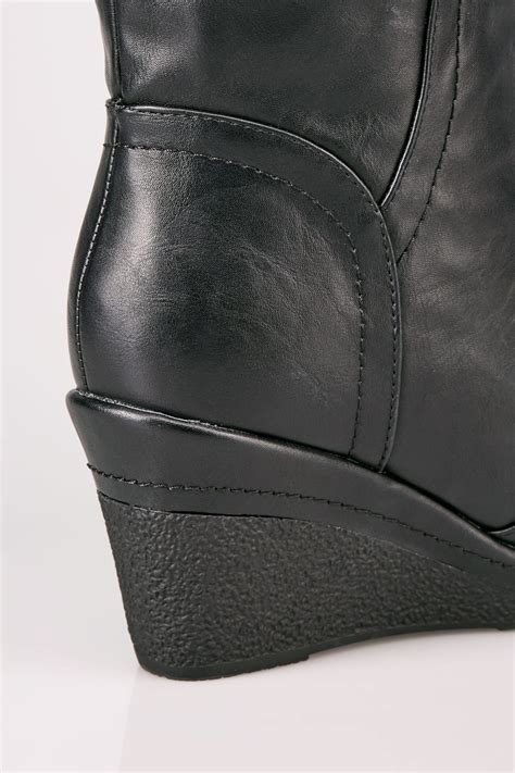 Boots Gift Cards Terms And Conditions - black calf length boots with wedge heel buckle details in true eee fit sizes 4eee
