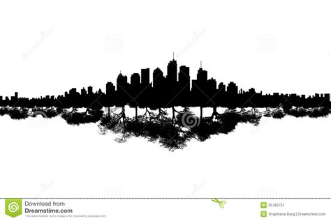 city skyline tree reflection stock image image 25780751