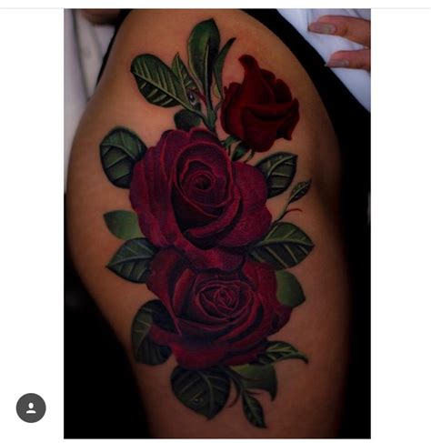 leg tattoos of roses thigh by cheeseburgerchion just in