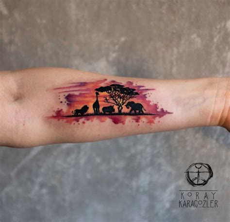 watercolor animal tattoo africa watercolor forearm best