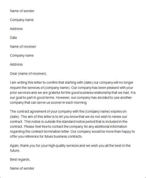 vendor contract cancellation letter sle vendor contract cancellation letter sle best free
