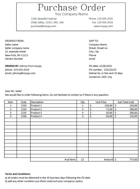 excel template  purchase order template  microsoft excel  excelmadeeasy