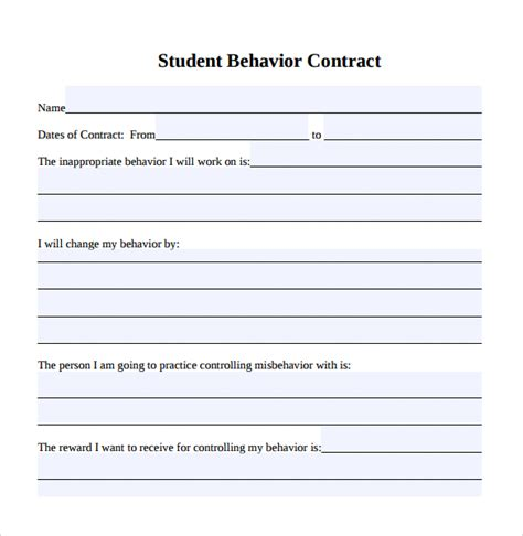 Behavior Contract Template 15 Behaviour Contract Templates Sle Templates