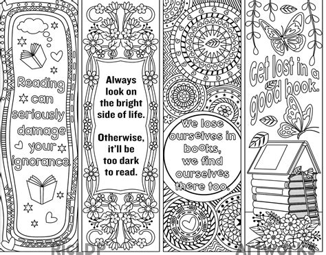 printable bookmarks black and white ricldp artworks printable coloring bookmarks