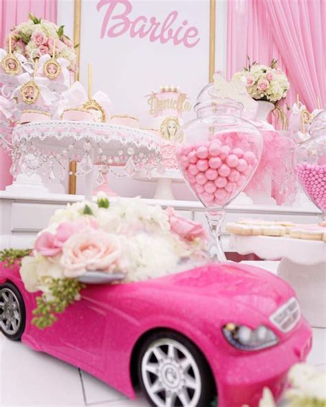 barbie themed birthday party barbie car floral arrangement from a pink glam barbie