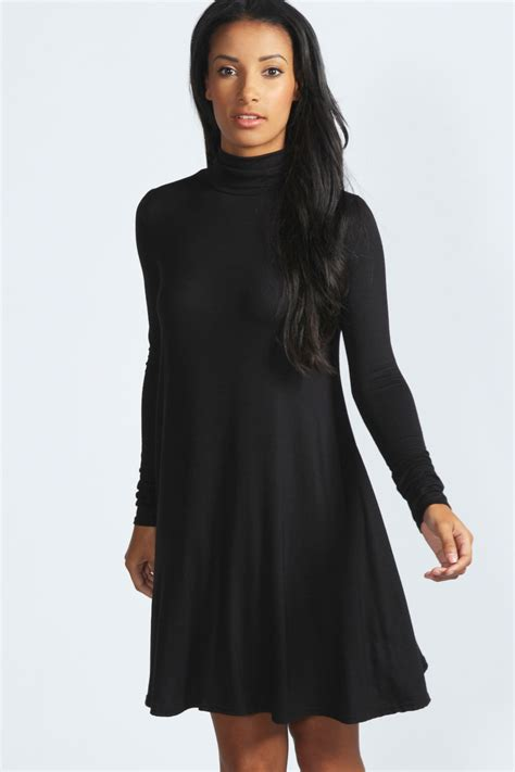 long swing dress boohoo womens ladies faye roll neck long sleeve swing dress