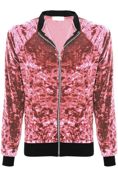 Crushed Velvet Jacket crushed velvet velour zip up a1 bomber varsity
