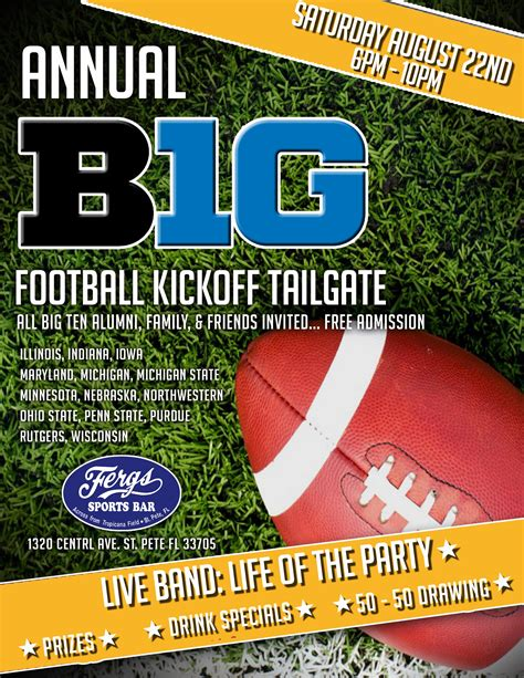 The Msu Alumni Of Ta Bay 187 Annual B1g Ten Football Kick Off Tailgate Party Free Tailgate Flyer Template