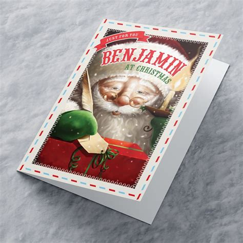 personalised christmas card traditional santa from 99p