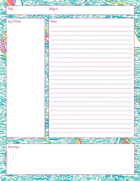 printable notes page lilly note taking printables also in first impression
