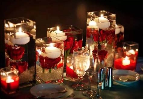 wedding centerpieces with candles and roses 2 6 candles