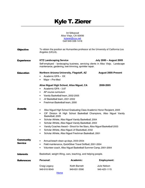 rtf landscape resume description