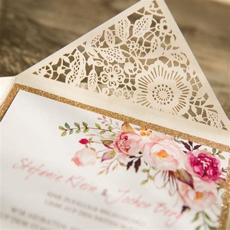 Einladungskarten Hochzeit Blumen by Bohemian Spitze Einladungskarte Hochzeit Mit Blumen Opl207