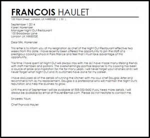 restaurant resignation letter resignation letters