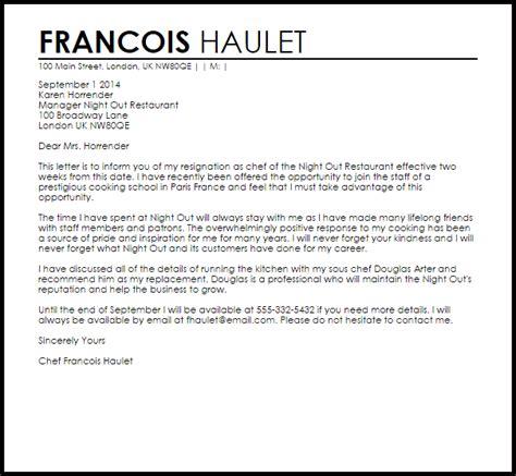 restaurant resignation letter letter samples