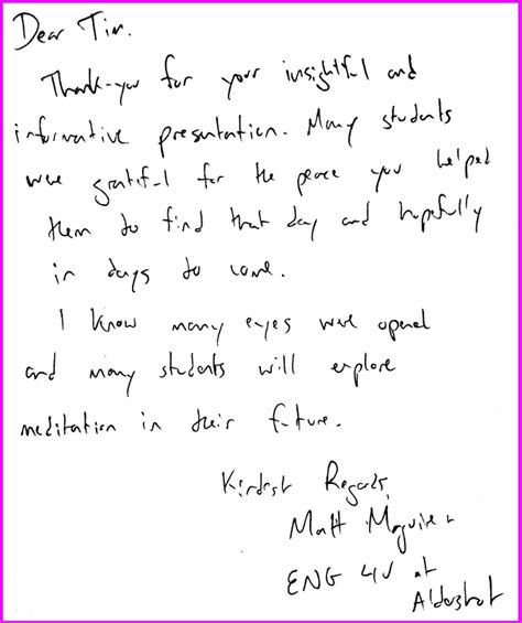 Thank You Note To Esl From Tim Bruce What Students And Teachers Say About Sahaja Meditation Workshops In