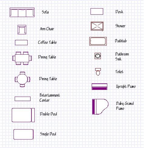 floor plan symbols uk outline vector simple furniture plan floor stock vector