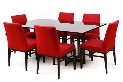 Glass Table Top rare roger sprunger dunbar dining table red modern furniture
