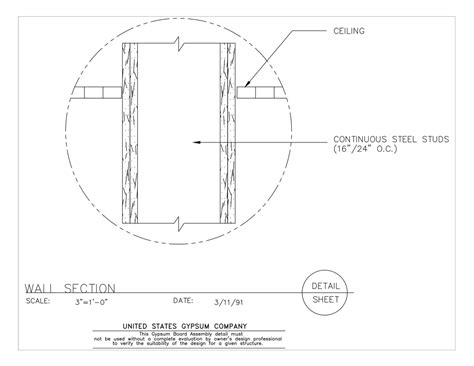 gypsum ceiling section detail usg design studio wall section download details