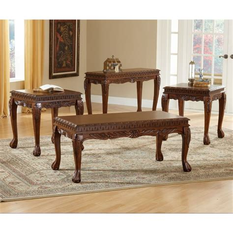 3 piece living room table sets bernards 3 piece deluxe carved coffee table set in cherry