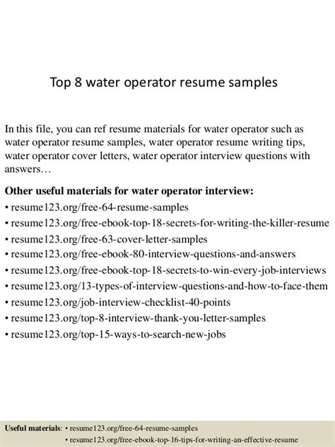 Treatment Resume Top 8 Water Operator Resume Sles