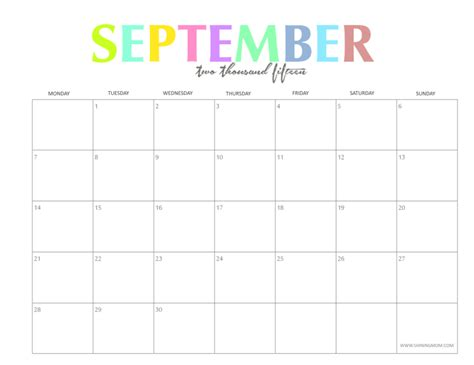 printable monthly planner 2015 september the colorful 2015 monthly calendars by shiningmom com are