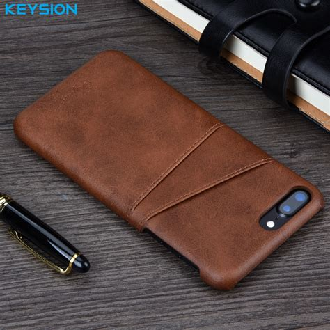 Iphone 8 Luxury Leather With Card Slot keysion for iphone 8 8 plus 7 7 plus cover leather luxury wallet card slots back capa for