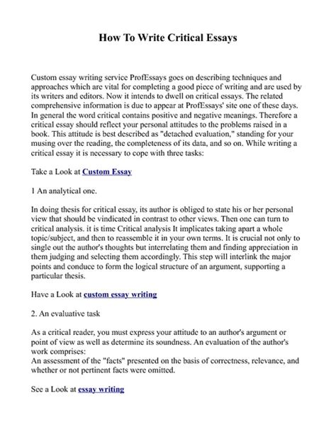 How To Write A Thesis Essay by How To Write Critical Essays Pdfsr
