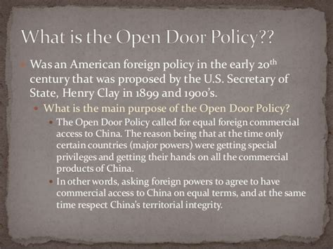 Open Door Policy China by Open Door Policy In China