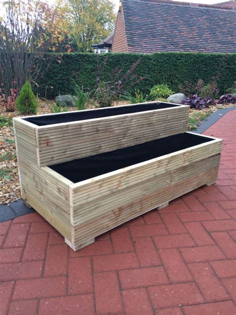 Wooden Planters by Large Wooden Garden Step Planter Trough Two Tier Veg