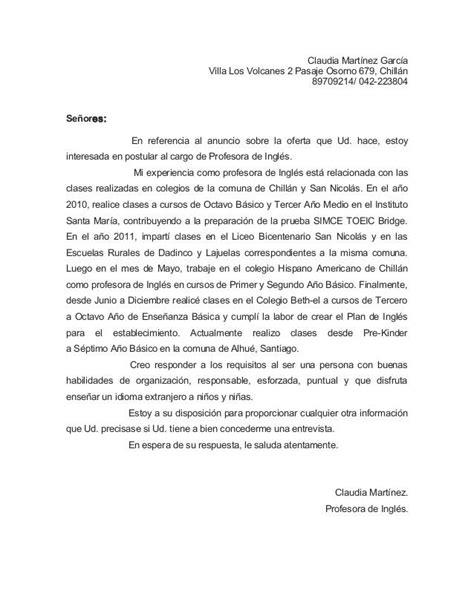 Modelo Carta De Presentacion Curriculum En Ingles Carta Presentacion Ingles Universia Design Bild