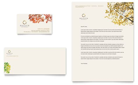 Insurance Letterhead Health Insurance Company Business Card Letterhead Template Word Publisher