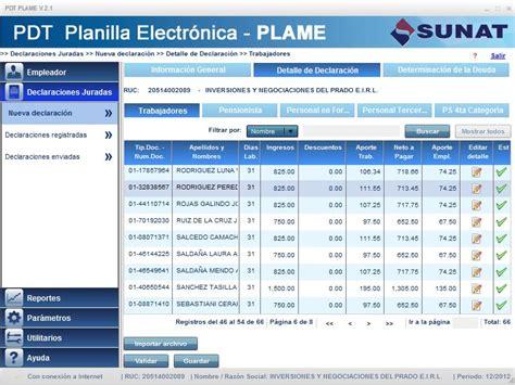 planilla excel recibo de sueldo personal servicio plame t registro