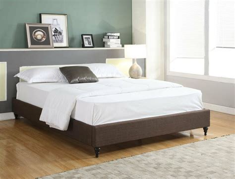 Contemporary Bed Frames by Brown Cloth Fabric Size Platform Bed Frame Slats