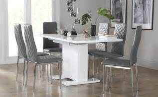 Dining Table And Chairs Gray Osaka White High Gloss Extending Dining Table With 6 Renzo