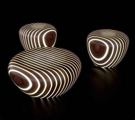 Organic Sofas Futuristic Wooden Furniture With Integrated Led Lighting