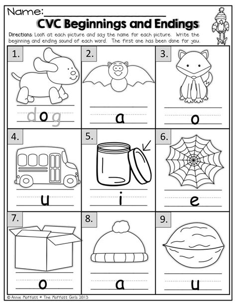 5 Letter Words Middle Letter I beginning sounds worksheets kindergarten identifying